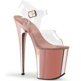 Rosa 20 cm FLAMINGO-808 Chrome Plateau High Heels