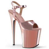 Rosa 20 cm Pleaser FLAMINGO-809 Chrome Plateau High Heels