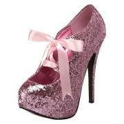 Rosa Glitter 14,5 cm TEEZE-10G Concealed platform burlesque pumps schuhe