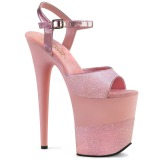 Rosa Glitzern 20 cm Pleaser FLAMINGO-809-2G Plateau High Heels