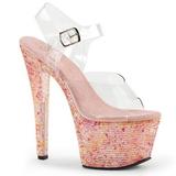Rosa Kristall 18 cm CRYSTALIZE-308TL Hohe Abend Sandaletten mit Absatz