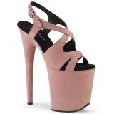Rosa Kunstleder 20 cm FLAMINGO-831FS Sandaletten mit high heels