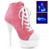 Rosa Neon 15 cm DELIGHT-600SK-02 Leinenstoff high heels chucks