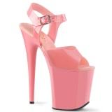 Rosa high heels 20 cm FLAMINGO-808N JELLY-LIKE stretchmaterial plateau high heels