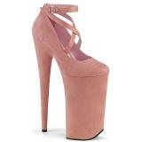 Rosa vegan suede 25,5 cm BEYOND-087FS high heels - extreme plateau pumps
