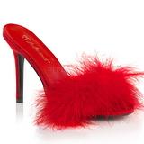 Rot 10 cm CLASSIQUE-01F damen pantoletten mit marabou federn