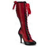Rot 11,5 cm TEMPT-126 Damen Schnürstiefel High Heels