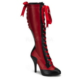 Rot 11,5 cm TEMPT-126 Damen Schnürstiefel High Heels
