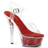 Rot 15 cm KISS-208GF glitter plateau sandaletten