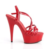 Rot 15 cm Pleaser DELIGHT-613 Sandaletten mit High Heels