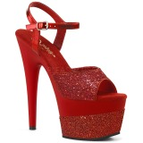 Rot 18 cm ADORE-709-2G glitter plateau sandaletten