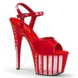 Rot 18 cm ADORE-709VLRS plateau high heels mit strass steinen