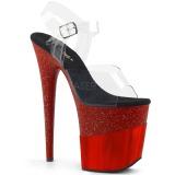 Rot 20 cm FLAMINGO-808-2HGM glitter plateau sandaletten