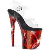 Rot 20 cm FLAMINGO-808STORM Hologramm plateau high heels
