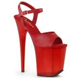 Rot 20 cm FLAMINGO-809T Acryl plateau high heels