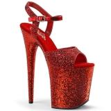Rot 20 cm FLAMINGO-810LG glitter plateau high heels