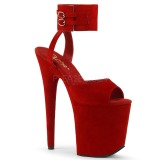 Rot 20 cm FLAMINGO-891 velour plateau high heels