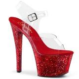Rot 20 cm SKY-308LG glitter plateau high heels