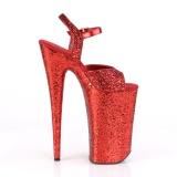 Rot 25,5 cm BEYOND-010LG glitter plateau high heels