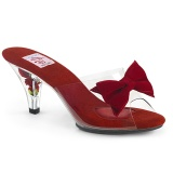 Rot 7,5 cm BELLE-301BOW Pinup mules schuhe mit schleife