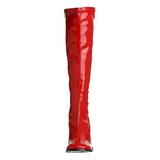 Rot 7,5 cm GOGO-300 lackstiefel mit blockabsatz - disco stiefel 70er jahre