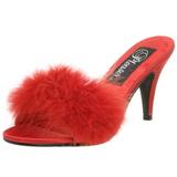 Rot 8 cm AMOUR-03 Mules Schuhe mit Marabou Federn - Plüsch
