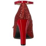 Rot Glitter 10 cm QUEEN-01 grosse grössen pumps schuhe