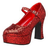 Rot Glitter 11 cm MARYJANE-50G Plateau Pumps Mary Jane