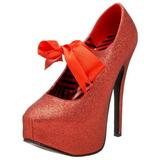 Rot Glitter 14,5 cm Burlesque TEEZE-04G Damenschuhe mit hohem Absatz