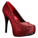 Rot Glitter 14,5 cm Burlesque TEEZE-06GW herren pumps für breite füsse