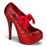 Rot Glitter 14,5 cm TEEZE-10G Platform Pumps Schuhe