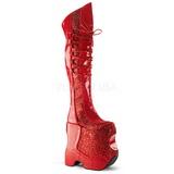 Rot Glitter 22 cm FABULOUS-3035 Overknee Stiefel für Drag Queen