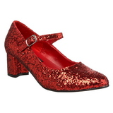 Rot Glitter 5 cm SCHOOLGIRL-50G Pumps Mary Jane
