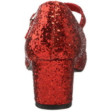Rot Glitter 5 cm SCHOOLGIRL-50G Pumps Mary Jane