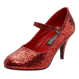 Rot Glitter 7,5 cm GLINDA-50G Mary Jane Pumps