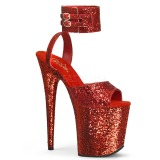 Rot Glitzern 20 cm Pleaser FLAMINGO-891LG Plateau High Heels
