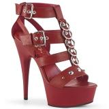 Rot Kunstleder 15 cm DELIGHT-658 pleaser schuhe high heels