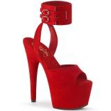Rot Kunstleder 18 cm ADORE-791FS pleaser high heels mit knöchelriemen