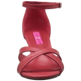 Rot Kunstleder 7,5 cm DIVINE-435 grosse grössen sandaletten damen