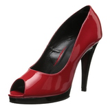 Rot Lack 12 cm FLAIR-474 Plateau Pumps Open Toe