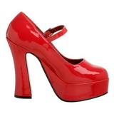Rot Lack 13 cm DOLLY-50 Mary Jane Plateau Pumps