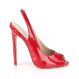 Rot Lack 13 cm SEXY-08 Sling Back Pumps
