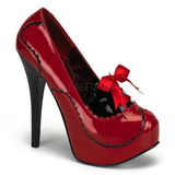 Rot Lack 14,5 cm Burlesque BORDELLO TEEZE-01 Plateau Pumps