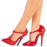 Rot Lack 15 cm DOMINA-415 Damen Pumps Schuhe Flach