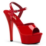 Rot Lack 15 cm Pleaser KISS-209 Plateau High Heels