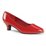 Rot Lack 5 cm FAB-420W Damen Pumps Schuhe Flach