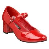 Rot Lack 5 cm SCHOOLGIRL-50 Klassische Pumps Schuhe Damen