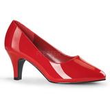 Rot Lack 8 cm DIVINE-420W Damen Pumps Schuhe Flach