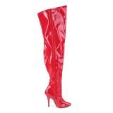 Rot Lackleder 13 cm breite waden overknee stiefel mit stretch weitschaft für herren