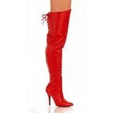 Rot Leder 13 cm LEGEND-8899 Überkniestiefel Flacher Heels